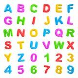 Multi farbige Buchstaben und Zahlen Lizenzfreie Stockfotografie