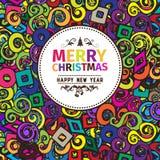 Multi farbige bunte Weihnachtskarte und Grüße des neuen Jahres vector Illustration Stockbild