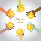 Multi farbige Hände, die Ideen teilen lizenzfreie abbildung
