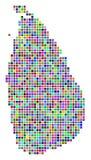 Multi farbiger Dot Sri Lanka Island Map lizenzfreie abbildung