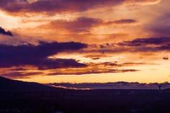 Multi farbiger Sonnenuntergang mit einer Schattenbildbaumgrenze und Feuerwolken stockfoto