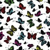 Multi farfalla colorata sveglia su un fondo bianco illustrazione di stock