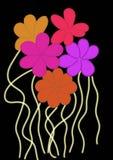 Multi fiori di colore su un fondo nero illustrazione di stock
