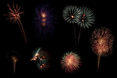 Multi firework from huahin firework show Royalty Free Stock Photos