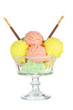 Multi flavor ice cream glass Royalty Free Stock Photo