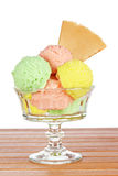 Multi flavor ice cream glass Stock Photos