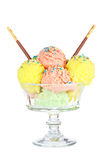 Multi flavor ice cream glass Royalty Free Stock Image