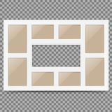 Multi frame set with empty space. Photo frame. Photo frame collage. Multi frame for several photos.isolated on background. Vector. Illustration. Eps 10 Royalty Free Stock Photos