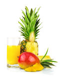 Multi fruit juice with tropical fruit Stock Photos