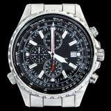 Multi Functionele Sport Elektronische Chronograaf met Zwarte Wijzerplaat Royalty-vrije Stock Afbeelding