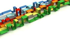 Multi Gekleurde 3D Ge?llustreerde Geometrische Linten op een Witte Achtergrond stock foto