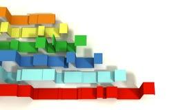Multi Gekleurde 3D Ge?llustreerde Geometrische Linten op een Witte Achtergrond royalty-vrije stock foto