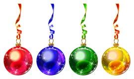 Multi gekleurde Kerstmisballen Stock Afbeelding