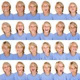 Multi gelaatsuitdrukkingen Stock Foto