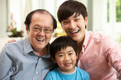 Multi Genenration Chinese Family Relaxing At Home Royalty Free Stock Image