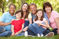 Multi generatie Spaanse familie in park royalty-vrije stock fotografie