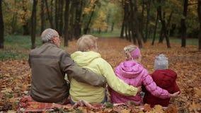 Multi-generation οικογένεια που αγκαλιάζει στο πάρκο φθινοπώρου απόθεμα βίντεο