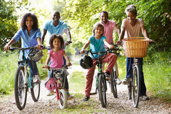 Multi Generation African American Family On Cycle Ride Royalty Free Stock Photography