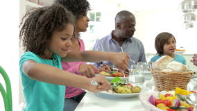 Multi Generation African American Family Eating Meal At Home stock video