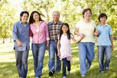 Multi-generation Asian family walking in park Stock Image
