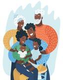 Multi generation black family. African American. Multi generation black family. Happy African-American. Vector cartoon illustration in modern concept stock illustration
