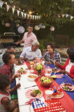 Multi generation black family at 4th July barbecue, vertical Stock Images