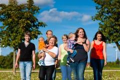 Multi-generation familj på äng i sommar Fotografering för Bildbyråer