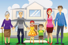 Multi generation family. A  illustration of a multi generation family in front of the house Stock Photography
