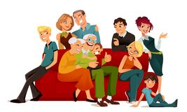 Multi generation family. Posing on a red sofa Stock Photos
