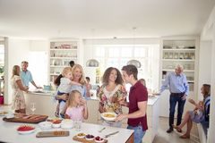 Free Multi-Generation Family And Friends Gathering In Kitchen For Celebration Party Stock Photography - 134200172