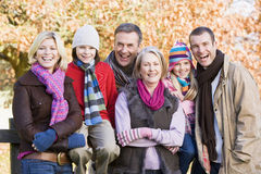 Multi-generation family on autumn walk Royalty Free Stock Photos