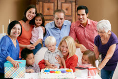Multi Generation Family Celebrating Birthday Stock Photos