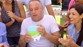 Multi Generation Family Celebrating Birthday In Garden stock video