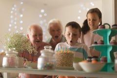 Multi-generation family celebrating birthday of grandson. Front view of a multi-generation family celebrating birthday of grandson with a birthday cake at home royalty free stock photo