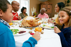 Multi Generation Family Celebrating Thanksgiving. Smiling Royalty Free Stock Images