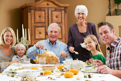 Multi Generation Family Celebrating Thanksgiving Stock Photos