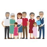 Multi-generation Family Colourful Photo on White Stock Images