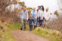 Multi Generation Family On Countryside Walk Stock Image