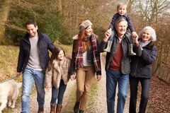 Multi Generation Family On Countryside Walk Stock Photos