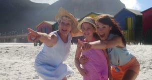 Multi generation family enjoying at beach stock video