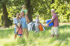Multi-Generation Family Enjoying Camping In Countryside stock photography