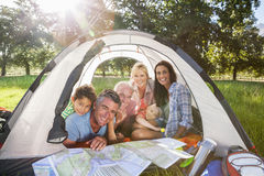 Multi-Generation Family Enjoying Camping Trip Stock Photography
