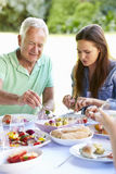 Multi Generation Family Enjoying Outdoor Meal Together Royalty Free Stock Images