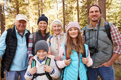 Multi generation family on forest hike, waist up portrait Royalty Free Stock Photography
