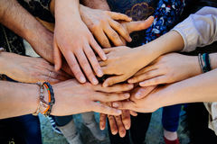Multi generation family hands. Together on a heap Stock Photos