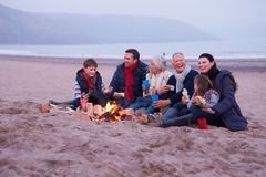 Multi Generation Family Having Barbeque On Winter Beach Royalty Free Stock Images