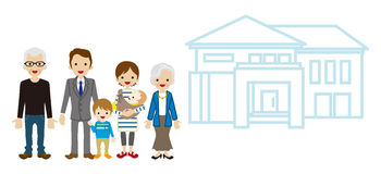 Multi-Generation Family with House - Active Seniors Stock Photo