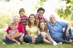 Multi-generation family in park royalty free stock image