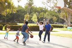 Multi Generation Family Playing Basketball Together Stock Photography