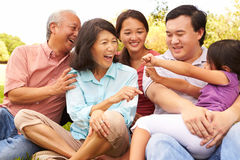 Multi Generation Family Playing Game In Park Together Stock Photography